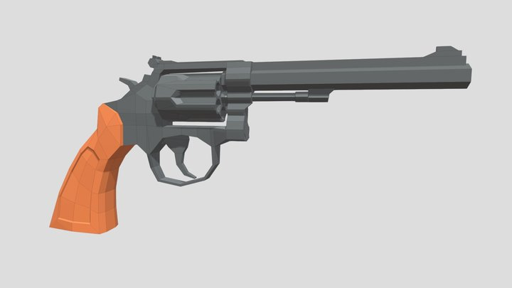 Low-Poly Revolver W&S 17-3 3D Model