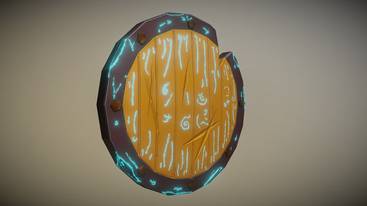 Stylized Viking Shield. 3D Model
