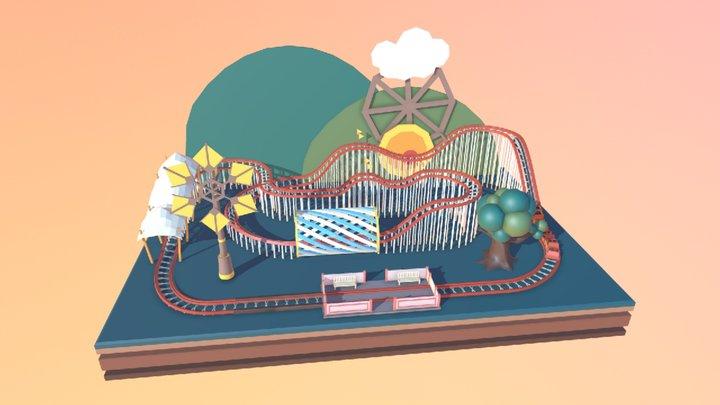 Rollercoaster Diorama Cartoon Style 3D Model