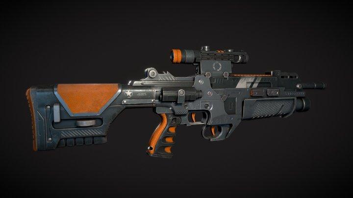 Assault Rifle PBR 3D Model