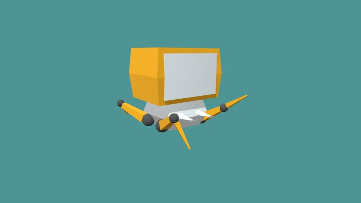 Low poly robot (rigged) 3D Model