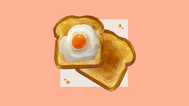 Handpainted Eggs on Toast 3D Model