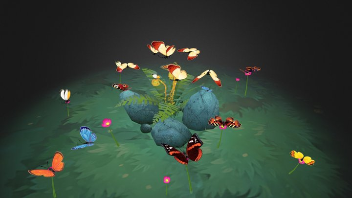 12 Animated butterflies 3D Model