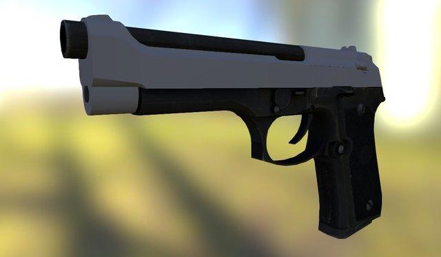 Pistola 9mm (M9). 3D Model