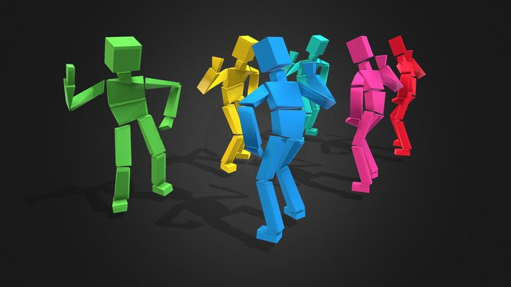 Characters  boxes  in dances 3D Model