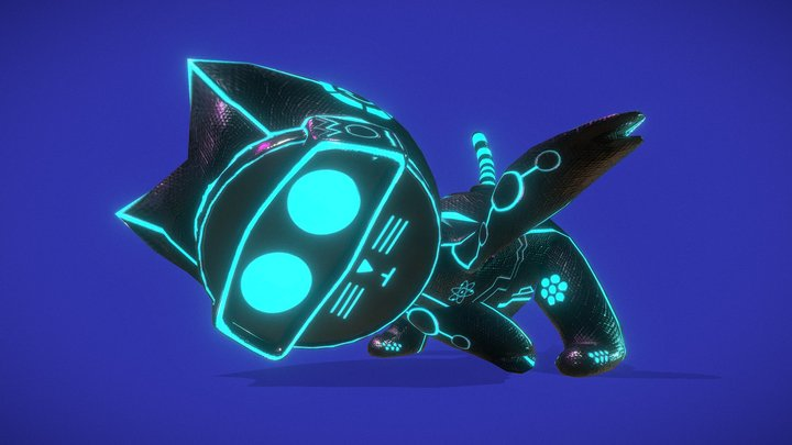 Runner Cybercat Character Animation 3D Model