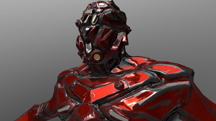Cyber Soldier Robot_red 3D Model