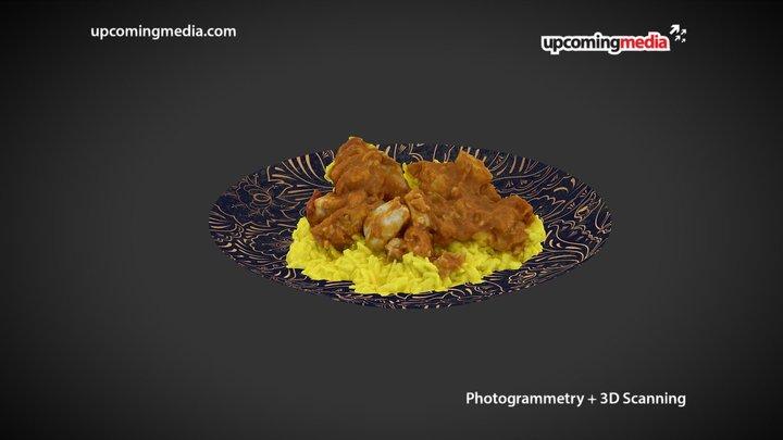 Butter Chicken On Decorative Plate 3D Model