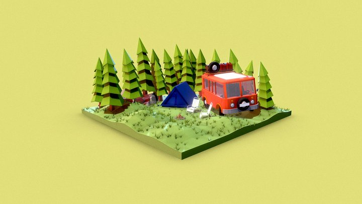 Low poly day camping 3D Model