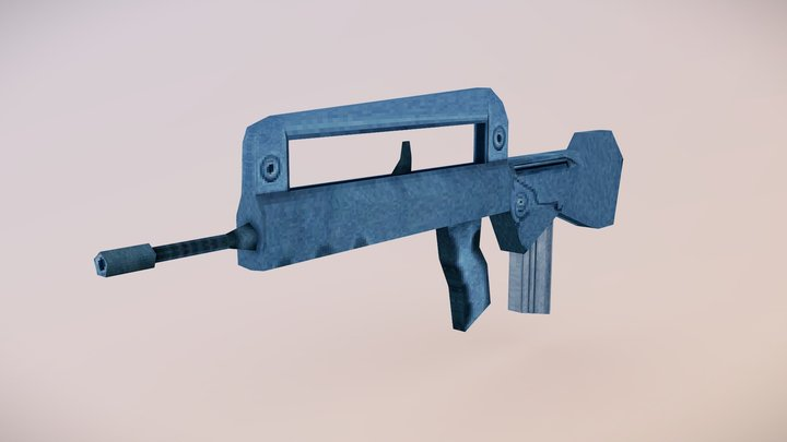 PS1-Style FAMAS Rifle 3D Model
