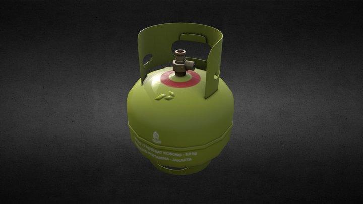 Tabung Gas Elpiji 3Kg (LPG) Pertamina - Lowpoly 3D Model