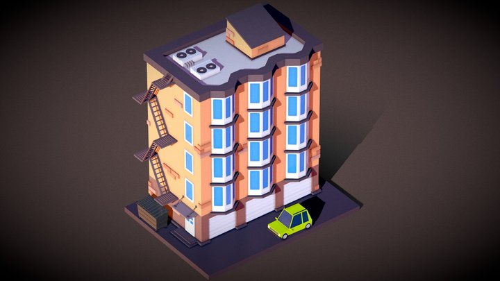 Low Poly Building Animation 3D Model