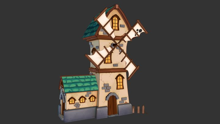 Windmill Building 3D Model