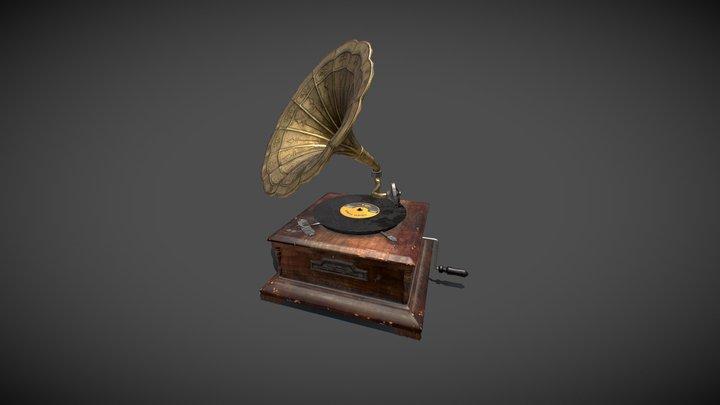 Gramophone Animated 3D Model