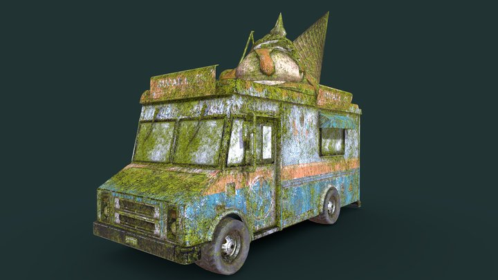 Mossy Old Ice Cream Truck 3D Model