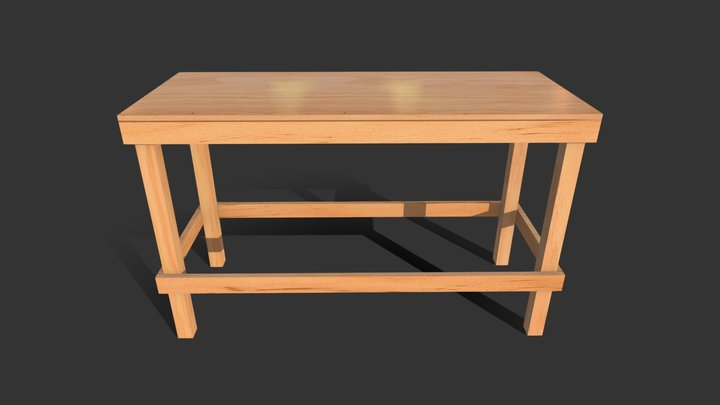 Table - Pine and ply construction site element 3D Model