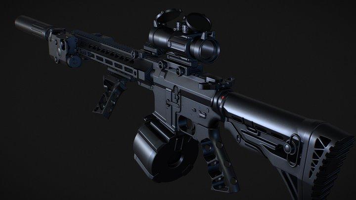 Customized M4A1 - Highpoly 3D Model