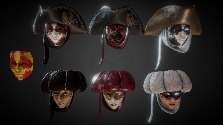 Venezian masks collection 3D Model