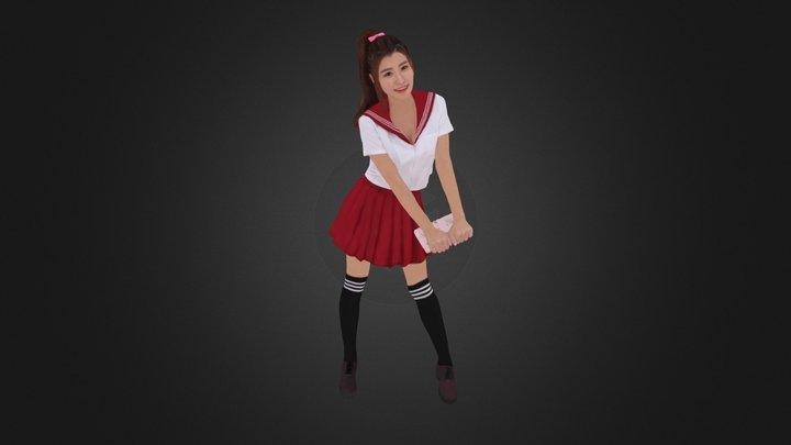 Pretty Uniform Skirt Girl 934 3D Model