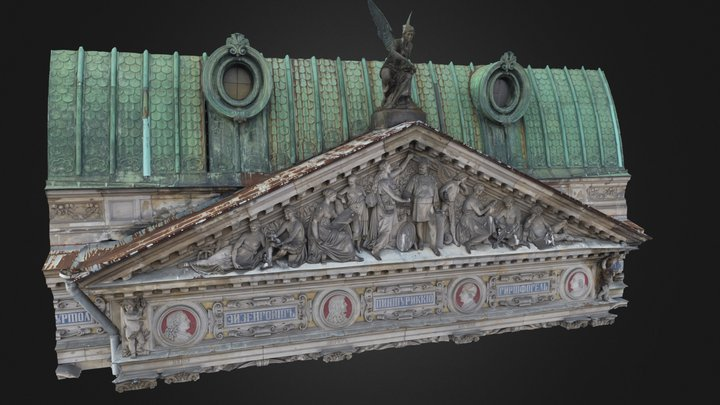 Фрагмент 3D-модели верхнего барельефа здания 3D Model