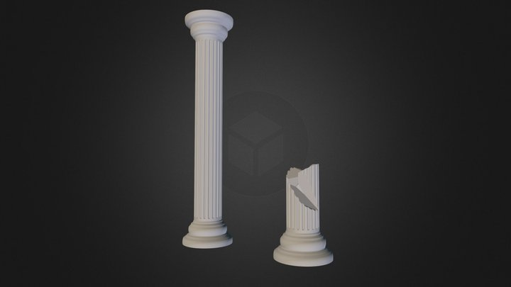 Architectural Column With Fragment 3D Model