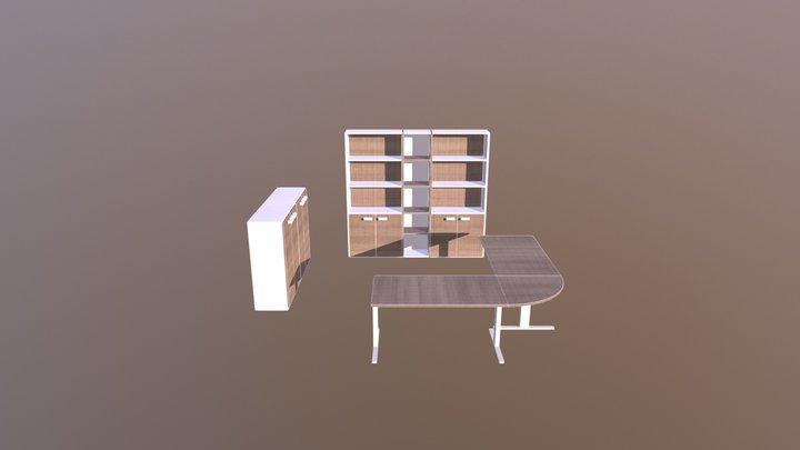 Mobili ufficio bianco olmo 3D Model