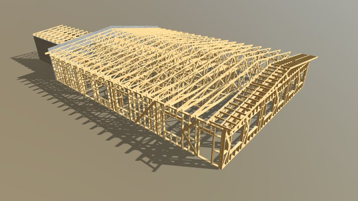 Timber Trusses And Wall Frame For kindergarten 3D Model