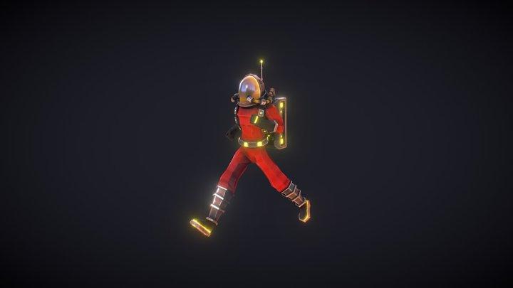 Polygonal Simple Astronaut - Run animation 3D Model