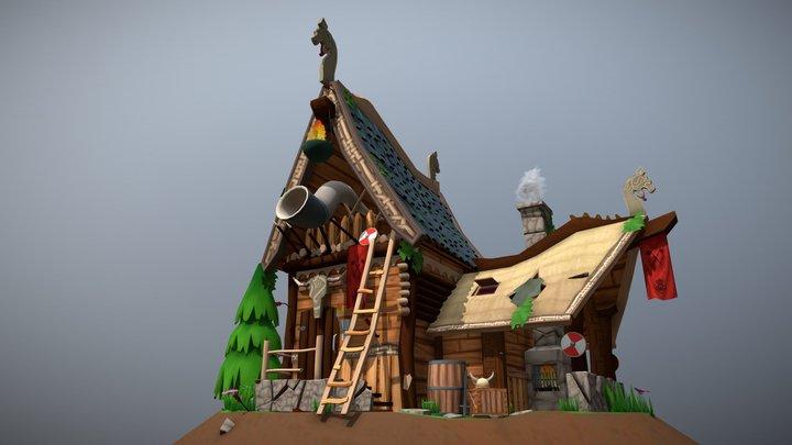 Stylized Viking Watchtower 3D Model