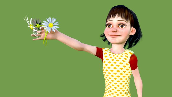 Girl with a gift 3D Model