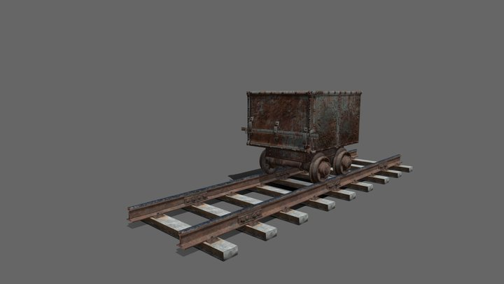 Train Tracks and Train Cart 3D Model