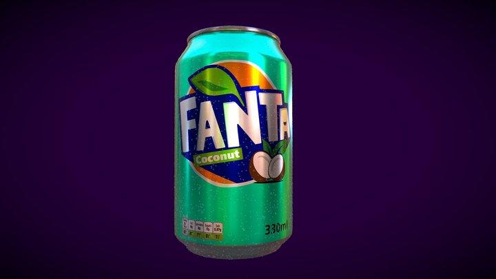 330ml can of Fanta Coconut 3D Model