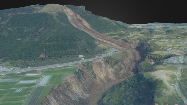 aso bridge landslide 3D Model