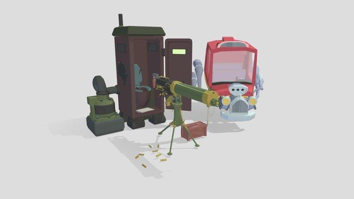 gun,car and toilet 3D Model