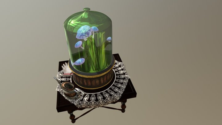 Glowing Mushrooms In The Pot - 01 3D Model