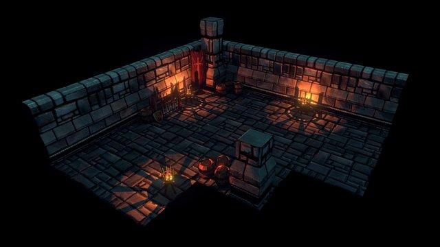 Modular Keep Scene 3D Model