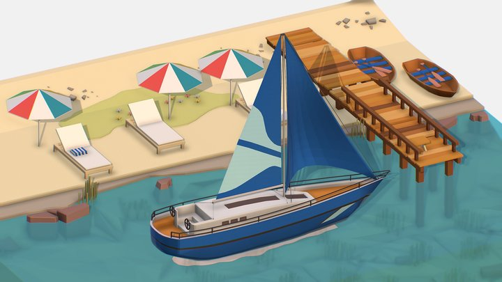 Isometric Blue Yacht Scene MotorBoat Blue 3D Model