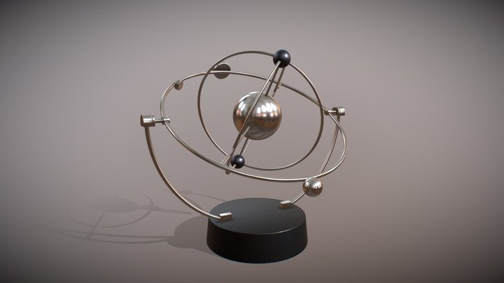 Magnetic Pendulum rotating eternal balls 3D Model