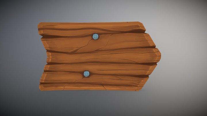 Handpainted Wooden Sign 3D Model
