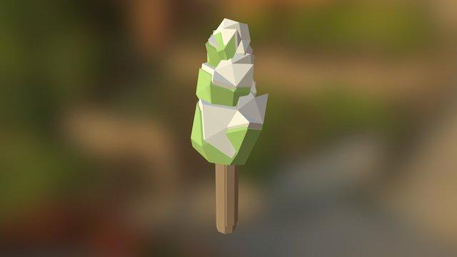 Low Poly Tree Snowy 3D Model