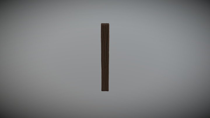 Low Poly Wood Post 3D Model