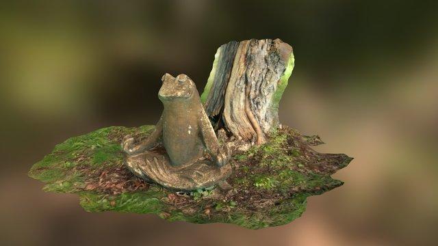 Meditating Froggy Lawn Sculpture 3D Model