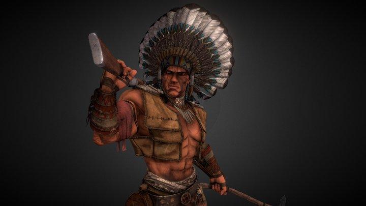 Native American Warrior 3D Model