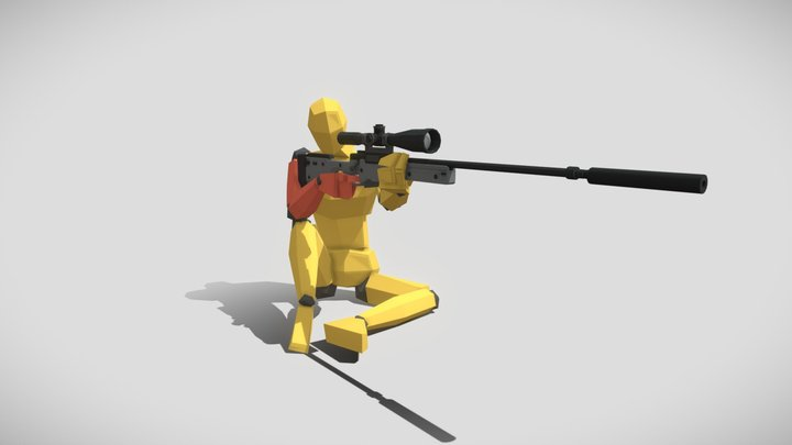 LowPoly character Pose3 3D Model