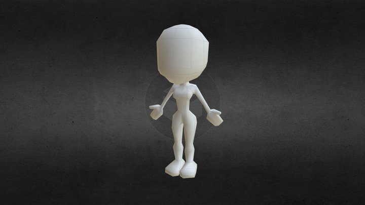 Base character female low poly 3D Model