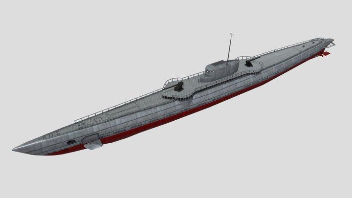 USS Nautilus SS-168 WW2 Submarine Low Poly Asset 3D Model