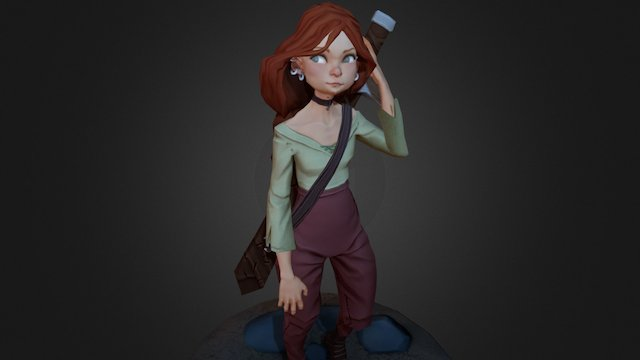 Red head cartoon girl 3D Model