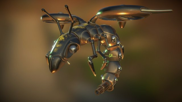 Surveillance Wasp Weathered 3D Model
