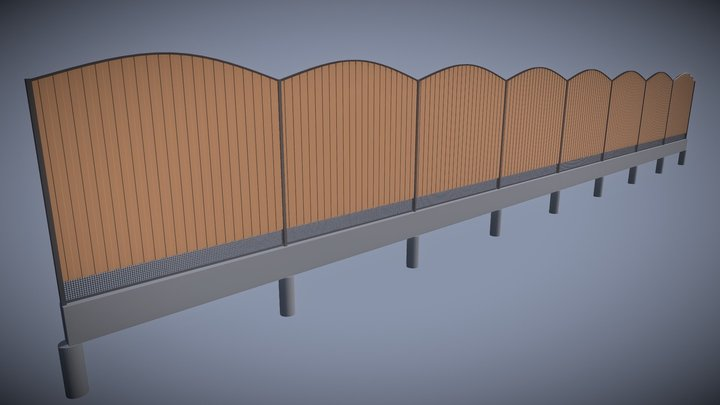 Wave-shaped metal sheet fence version 1 3D Model