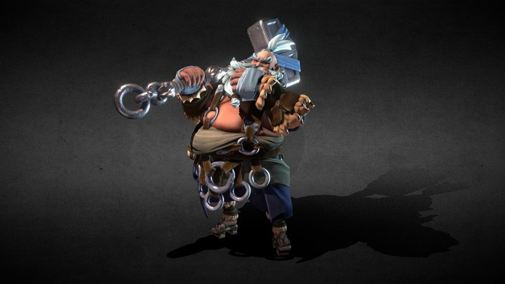 Asian Dwarf Character with Animation 3D Model